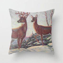 white tails | bucks & does | oh deer Throw Pillow