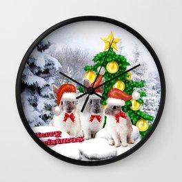 Schneehasen wünschen: frohe Weihnachten Wall Clock