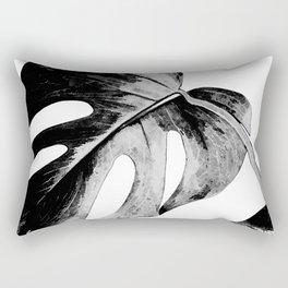 Black monstera leaves watercolor Rectangular Pillow