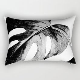 Black monstera leaves watercolor Rectangular Pillow