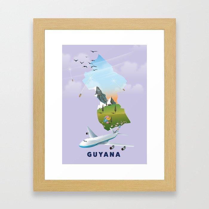 Guyana travel poster Gerahmter Kunstdruck
