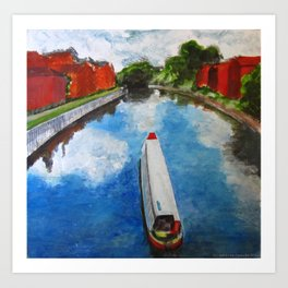 Longboat canal boat on river Art Print