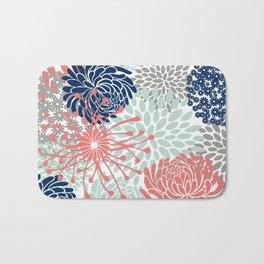 Floral Print - Coral Pink, Pale Aqua Blue, Gray, Navy Bath Mat