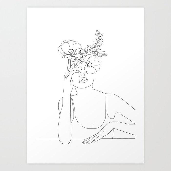 Minimal Line Art Woman with Flowers II