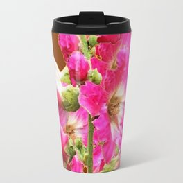 Coffee Brown Fuchsia Pink Holly Hocks Pattern Flora Art Travel Mug
