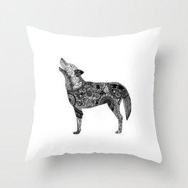 Henna-Inspired Wolf Throw Pillow