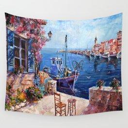 Morning at the Wharf Wall Tapestry