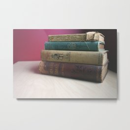 Old Books on the Table Metal Print