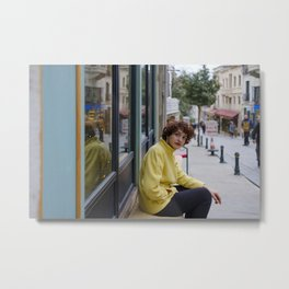 Stylish smoker woman and the city life Metal Print