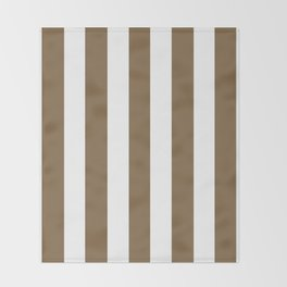 Raw umber brown - solid color - white vertical lines pattern Throw Blanket