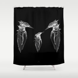 Kingfisher Family. White on black background-(Red eyes series) Shower Curtain