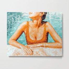 Mi Bebida Por Favor Painting, Mexico Summer Travel Woman Swim Pool, Spanish 70's Beauty Vintage Metal Print