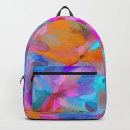 circle pattern abstract background in pink orange and blue Backpack