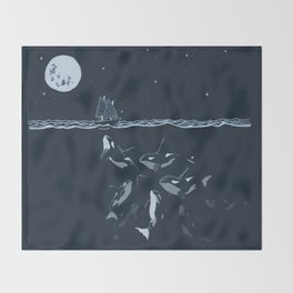 Pod of Killer Whale (Orca) and small boat in midnight ocean scene Throw Blanket