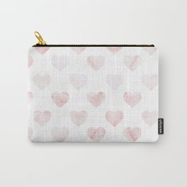 Pink Marble Hearts Carry-All Pouch