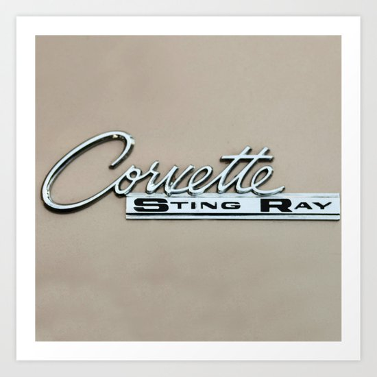 Corvette Sing Ray - Classic Car Logo Art Print