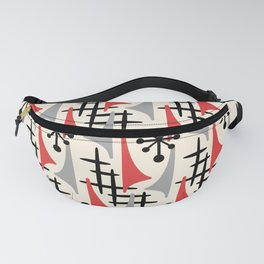 Mid Century Modern Atomic Wing Composition 234 Red and Gray Fanny Pack