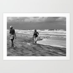Daily Life at the Beach Art Print