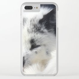 White fox close-up in sunny day. Clear iPhone Case
