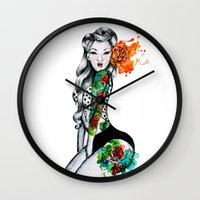 pinup Wall Clocks featuring Pinup Girl by helenacionart