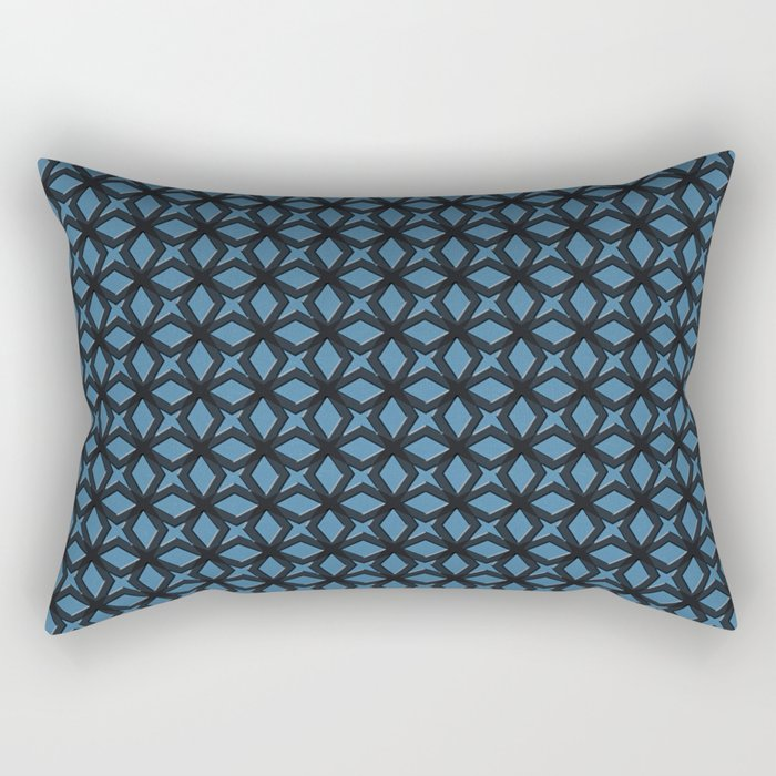 Blue Black Replay Rectangular Pillow