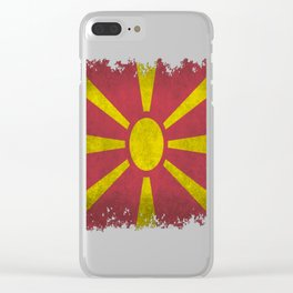 Flag-of-Macedonia-in-vintage-retro-style Clear iPhone Case