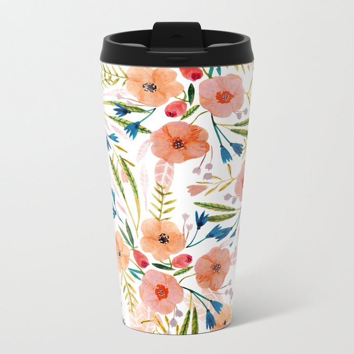 Floral Dance Metal Travel Mug
