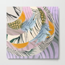 Pineapple Orange and The Pink Pattern Metal Print