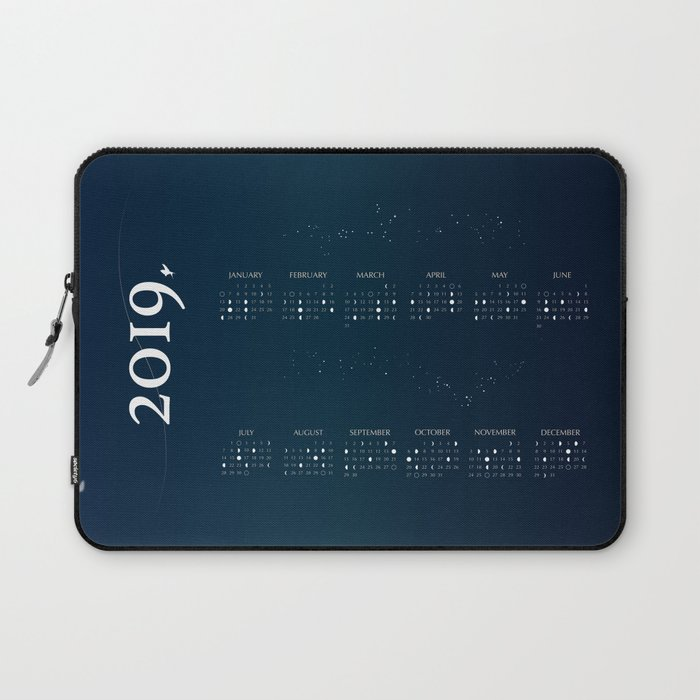 2019 Moon Phases Calendar Laptop Sleeve