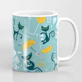 Mid century modern atomic style cats and cocktails Coffee Mug