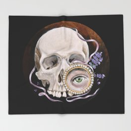Stillife with skull, lavender and lovers eye Throw Blanket