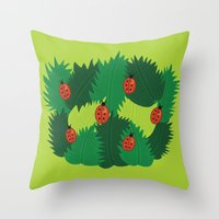 Green Leaves And Ladybugs In Spring Throw Pillow
