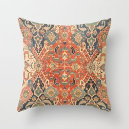 Geometric Leaves VII // 18th Century Distressed Red Blue Green Colorful Ornate Accent Rug Pattern Throw Pillow