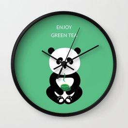 Enjoy green tea Wall Clock