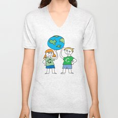 Recycle Message Kids Unisex V-Neck
