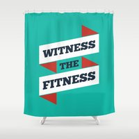 fitness Shower Curtains featuring Lab No. 4 - Witness The Fitness Gym Motivational Quotes Poster by Lab No. 4
