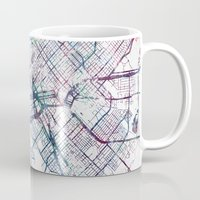 dallas Mugs featuring Dallas map by MapMapMaps.Watercolors