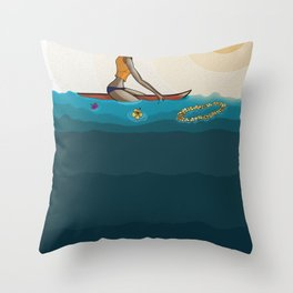 surfing in sunnies Throw Pillow