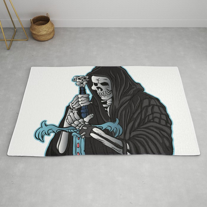 Grim Reaper With Sword Grim Reaper Tattoo Rug By Marios Society6