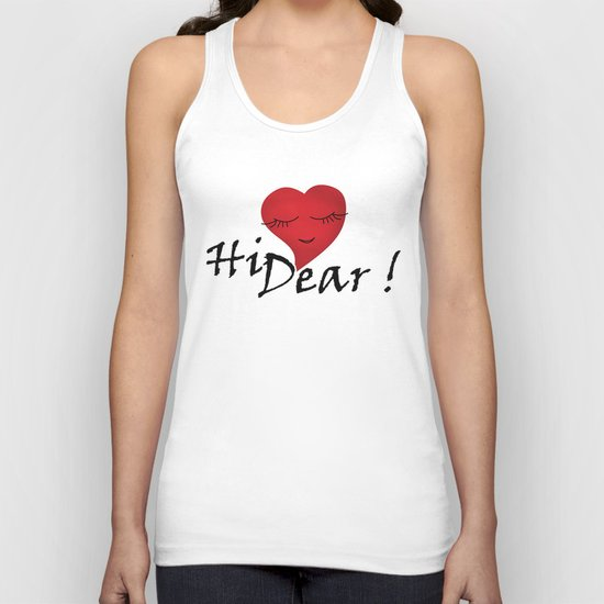Hi dear ! black and white background . Unisex Tank Top