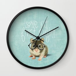 Little mouse in love Wall Clock