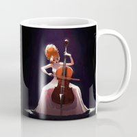 cello Mugs featuring The Cello Player by Joelle Murray