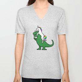 Unicorn Riding T-Rex (Red Background) Unisex V-Neck