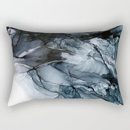 Dark Payne's Grey Flowing Abstract Painting Rectangular Pillow