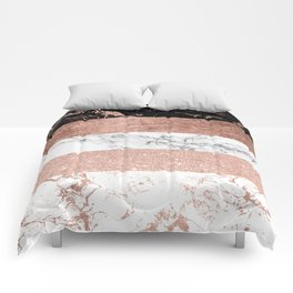 Modern chic color block rose gold marble stripes pattern Comforters