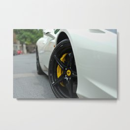White Ferrari 458  Metal Print