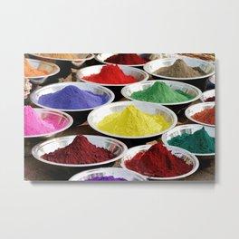 Gulal powders on market in India Metal Print