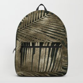 Golden green palm leaves pattern Backpack