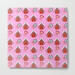 gingerbread houses, candy lollipops. Retro vintage cozy baby pink Christmas pattern Metal Print