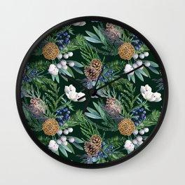 Dark green winter bouquet Wall Clock
